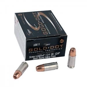 Speer Gold Dot 9mm Luger +P 124 GR. Short Barrel GDHP - 20RD
