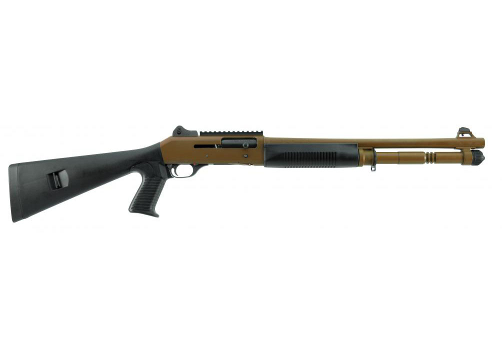 "Benelli M4 Tactical Shotgun W/Pistol Grip, FDE Cerakote, 18.5"" Barrel, 12 Gauge"