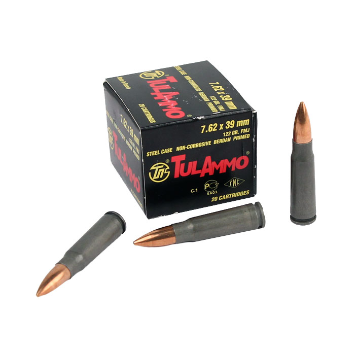 Tula 7.62x39mm 122 GR. FMJ - Steel Case - 20RD