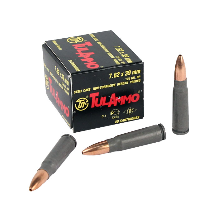Tula 7.62x39mm 124 GR. HP - Steel Case - 20RD