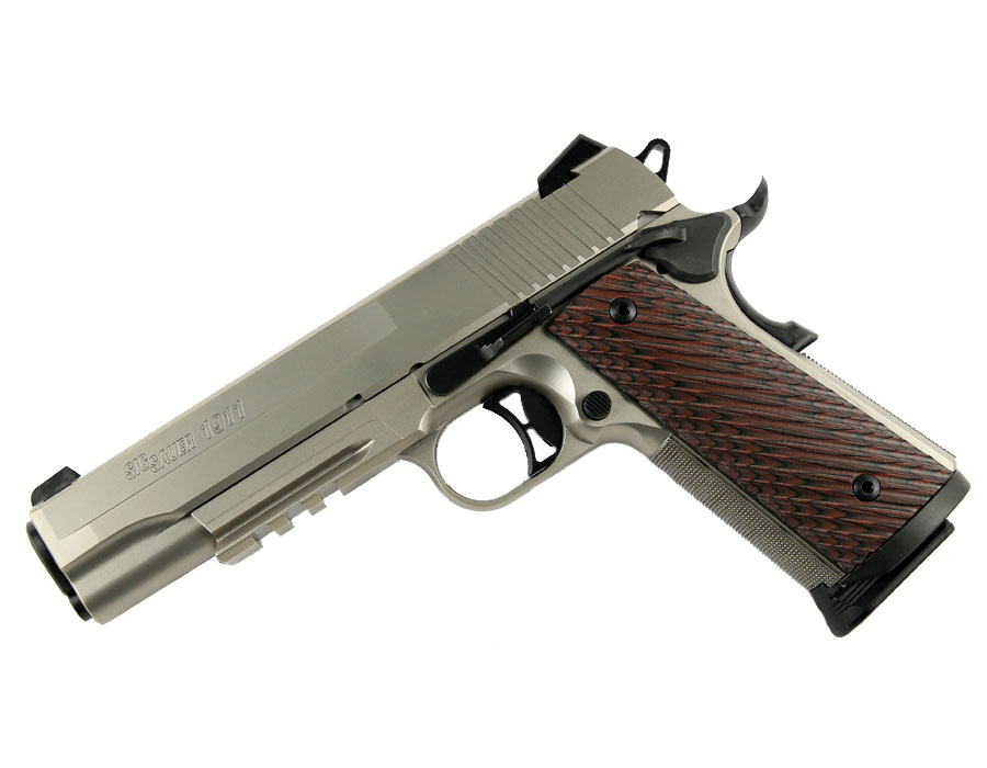 Sig Sauer 1911R, Nickel, .45ACP, Night Sights, Rail