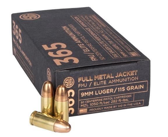 Sig Sauer 9mm 115 GR. Elite 365 FMJ - 50RD E9MMB1-365-50