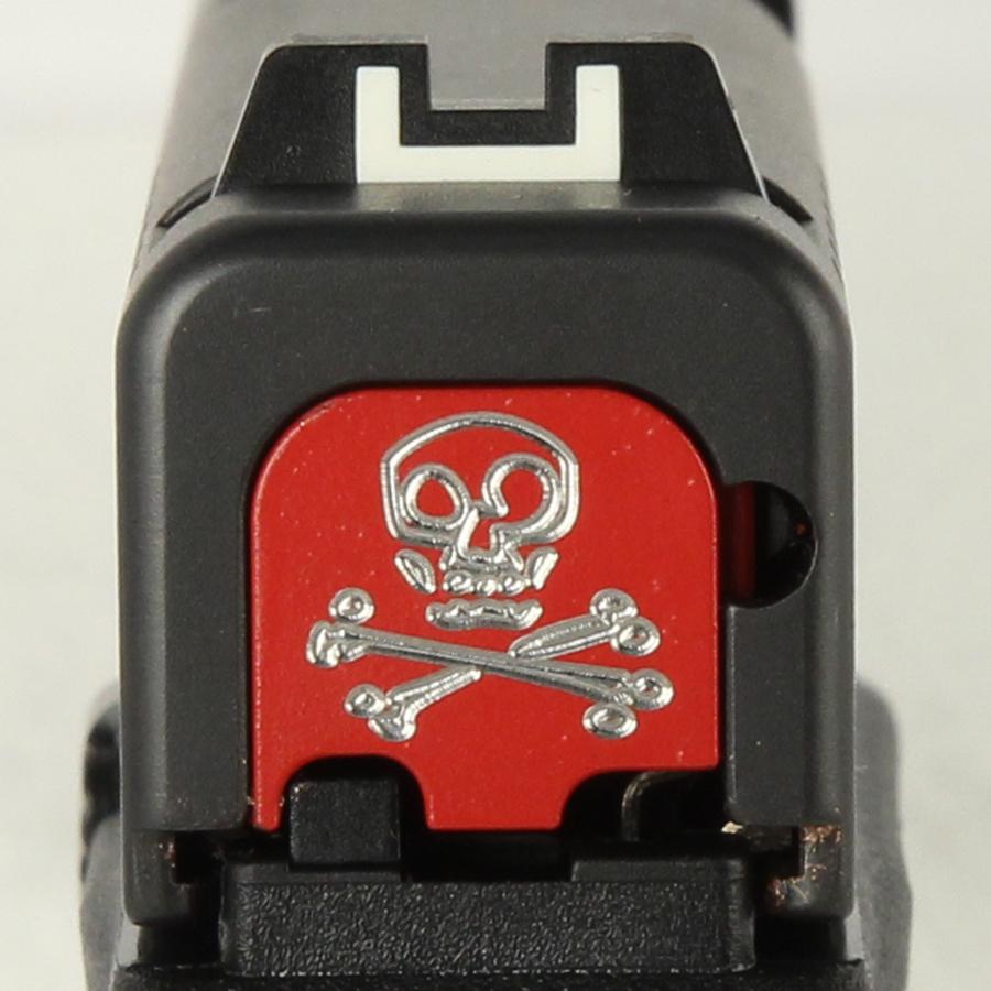 Milspin Custom Back Plate - Skull and Bones - Glock 43 - Red