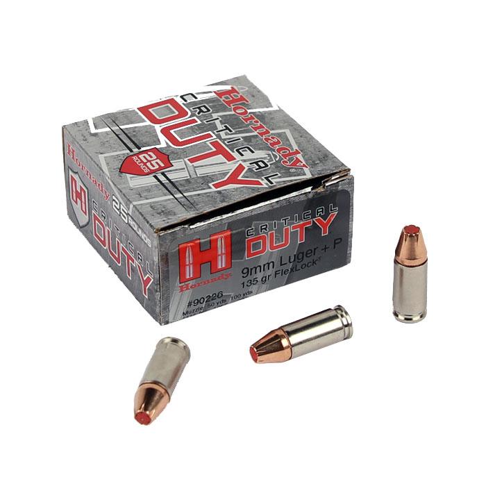 Hornady 9mm Luger +P 135 GR. FlexLock Critical Duty - 25RD