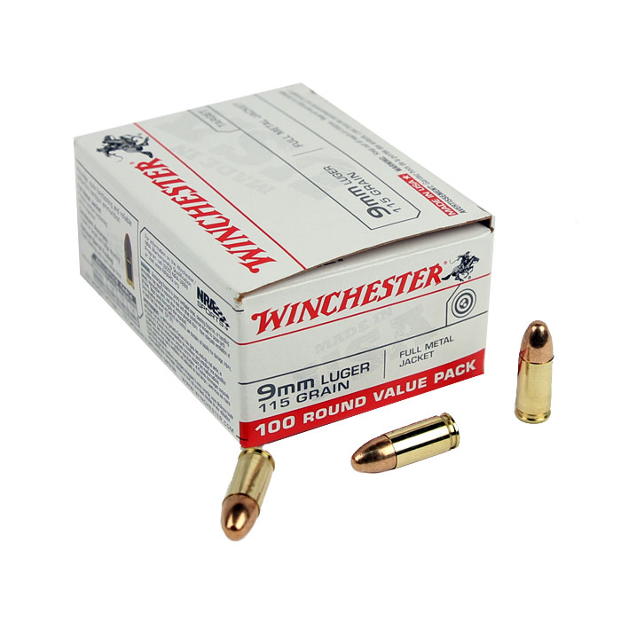 Winchester USA 9mm 115 GR. FMJ - 100RD