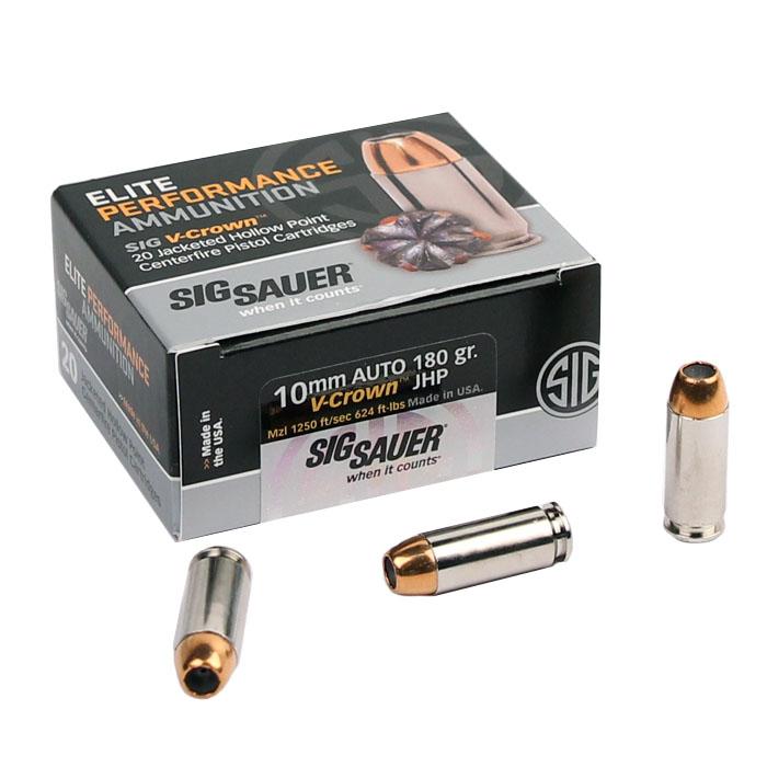 Sig Sauer 10mm 180 GR. Elite V-Crown JHP - 20RD