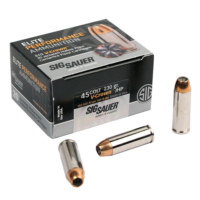 Sig Sauer .45 Colt 230 GR. Elite V-Crown JHP - 20RD