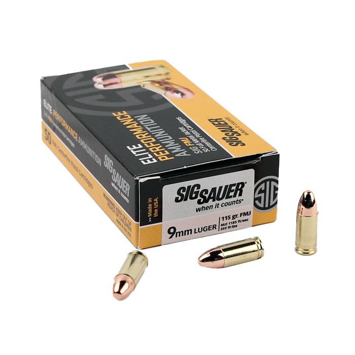 Sig Sauer 9mm 115 GR. Elite Ball FMJ - 50RD Box