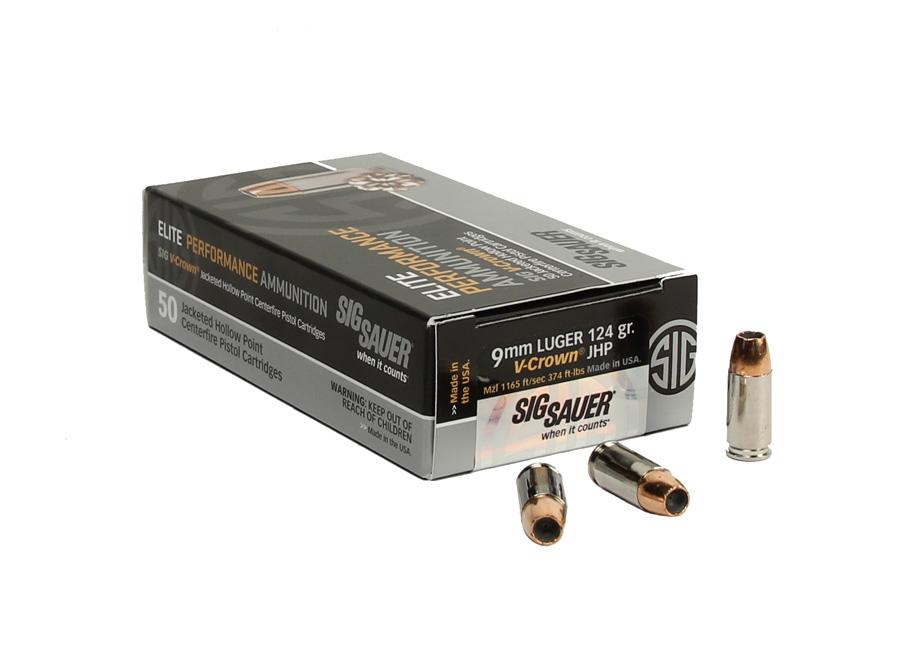 Sig Sauer 9mm 124 GR. Elite V-Crown JHP - 50RD