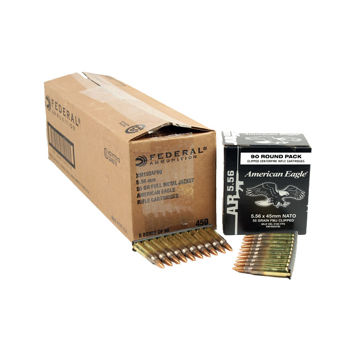 Federal Lake City M193 on Stripper Clips 55GR FMJ - 450RD Case