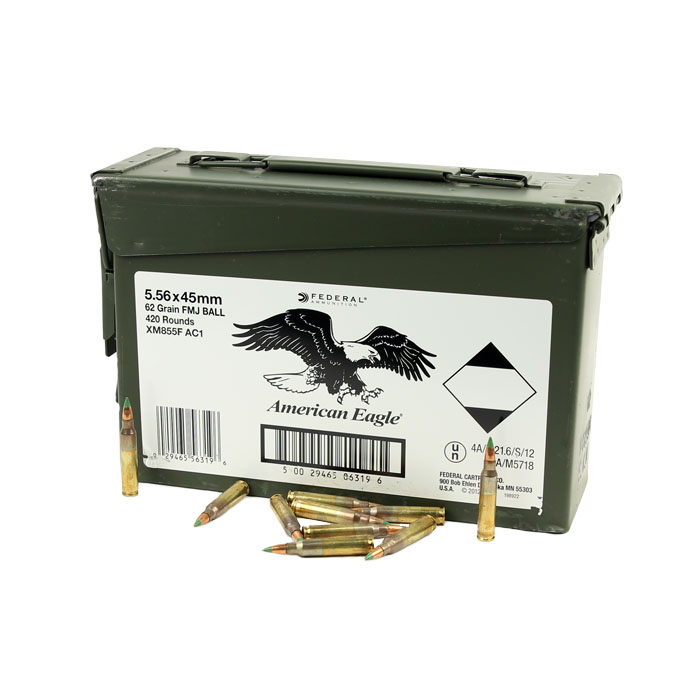 Federal M855 5.56 62GR. Penetrator Green Tip - 420 Round Case