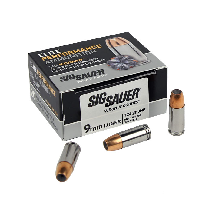Sig Sauer 9mm 124 GR. Elite V-Crown JHP - 20RD