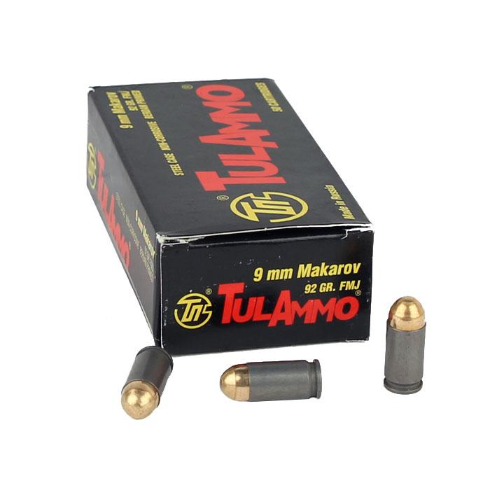 TULA 9x18 Makarov 92GR FMJ - Steel Case - 50RD