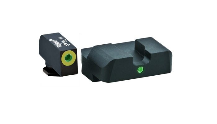 Ameriglo Tritium Night Sight Set - Pro i-Dot - Glock 10mm, .45, .357 - Green/Green (lumi-lime outline)