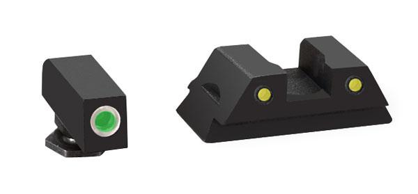 Ameriglo Tritium Night Sight Set - OPERATOR - Glock 42 - Green/Yellow