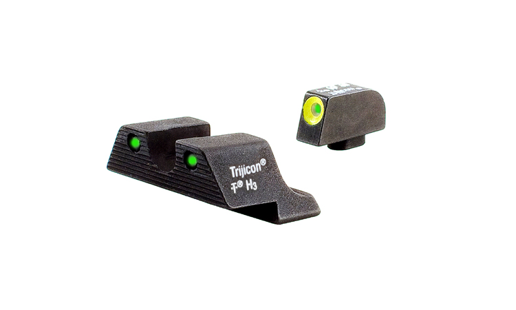 Trijicon HD Night Sight Set - GLOCK 9mm/.40/.357SIG - YELLOW OUTLINE FRONT