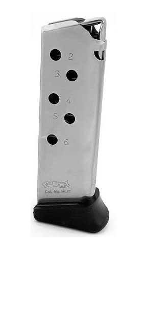 Walther PPK .380ACP 6RD Magazine with Finger Rest